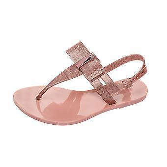 Womens Zaxy Sandals Glaze Sandal Bow Beach Flip Flops - Rose Glitter