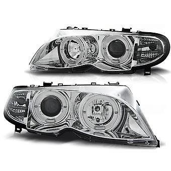 Reflektory podwójne halo felgi BMW E46 09 01-03 05 ANGEL EYES CHROM