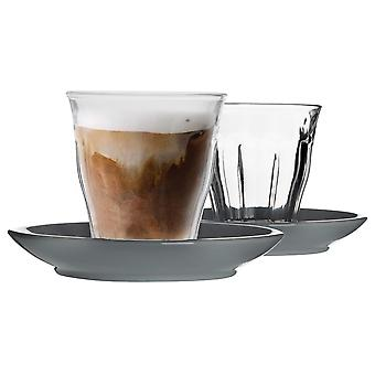 Duralex 12 Piece Picardie Glass Coffee Cup and Ceramic Saucer Set - Modern Style Tumbler Mug for Latte Cappuccino - Grey - 220ml