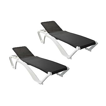 Resol Marina Garden Sun Lounger Bed - Adjustable Reclining Outdoor Summer Furniture - White, Black - Pack of 2