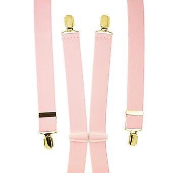 Krawatten Planet Plain Licht rosa Männer's Hosenträger - Gold Clips