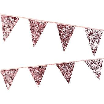 Luxury Pink Glitter Bunting - Wedding Christmas Décor 3m
