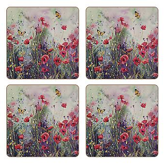 iStyle Poppy Field Set of 4 Coasters