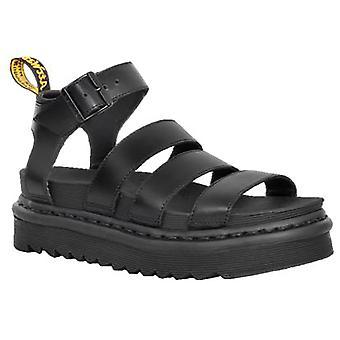 Womens Dr Martens Blaire Brando cuir noir gladiateur découpe sandales
