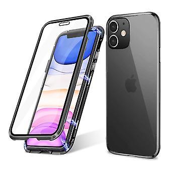 Stoff zertifiziert® iPhone 12 Pro Max magnetische 360 ° Fall mit gehärtetem Glas - Ganzkörper-Cover-Etui + schwarz Bildschirm-Schutz