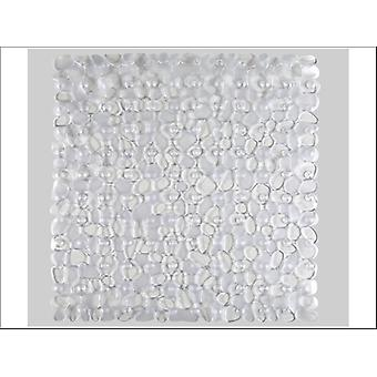 Home Label Pebbles Shower Mat Clear 95379