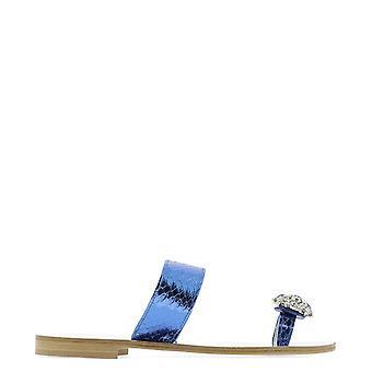 Emanuela Caruso J01ablu Women's Blue Leather Sandals