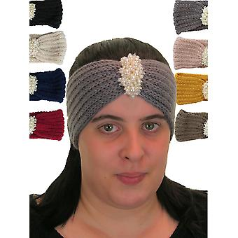 Women's Chunky Knited Head Head Wrap Ear Warmer Com Detalhes de Pérolas
