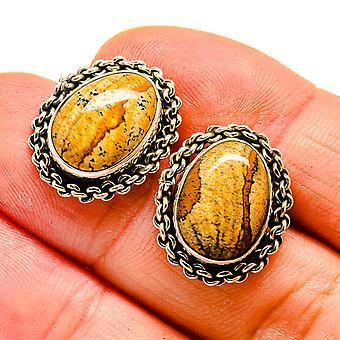 """Picture Jasper Earrings 3/4"""" (925 Sterling Silver)  - Handmade Boho Vintage Jewelry EARR408008"""