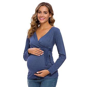 Doğum Emzirme Bluzları Kadın Giyim Uzun Kollu Yan Bağcıklı