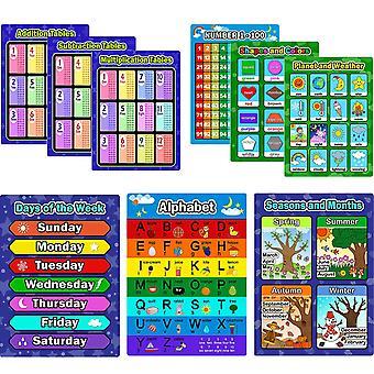 9 Piese de învățământ preșcolar postere de învățare kit poster pentru copii mici, alfabet, numărul 1-100, sha