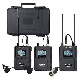 Comica cvm-wm200(a) wireless dual lavalier microphone system 84-channel full metal uhf lapel video m