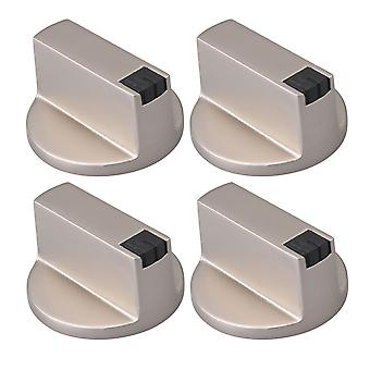 Silver Zinc Alloy 8mm Shaft Core 0 Degree Gas Stove Knob Set of 4