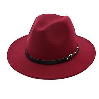 Winter Fashion Wool Fedora Hat Chapeau Hommes Simple Large Brim Automne Femme