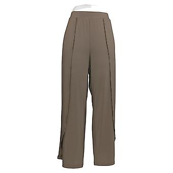 H Por Halston Mujeres's Pantalones Jet Set Jersey Fly-Away Wide Leg Beige A306925