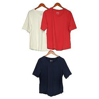 Denim & Co. Kvinder & apos;s Top Essentials AnyWear Jersey Sæt af 3 Hvid A390702