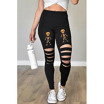 Womens Black Cut-out Skeleton Print Halloween Leggings