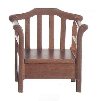 Puppen Haus dunkle Eiche Stuhl mit Aufbewahrungssitz Miniatur Garten Patio Möbel