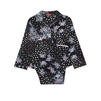 Minijammies Hannah 5683 Girl's Black Floral Cotton Pyjama Set