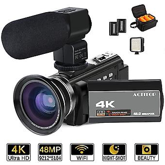 4K camcorder, actitop videocamera 48mp full hd 1080p wifi ir nachtzicht 16x digitale zoom video ca