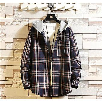 Casual Brand With Hooded Plaid Shirt
