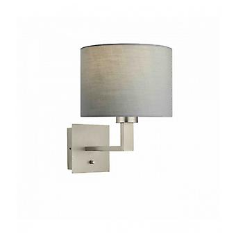 Norton Cylinder Wall Light In Steel, Matte Nickel Plate And Gray Fabric