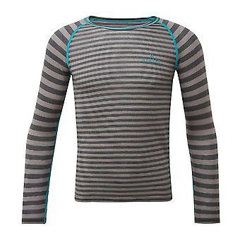 Hi-Gear Kids' Striped Merino Baselayer Top Grey