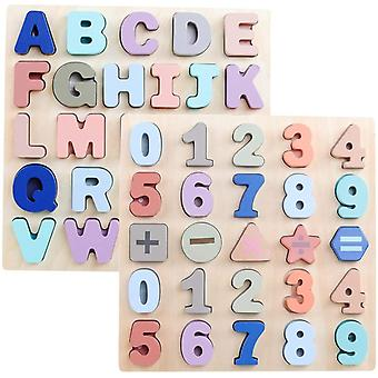 Abc Upper Case Letter And Number Wooden Puzzles For Toddlers