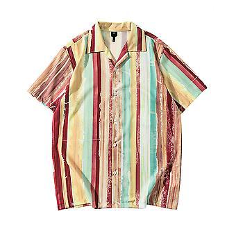 YANGFAN Men's Color Block Short Sleeve Shirt