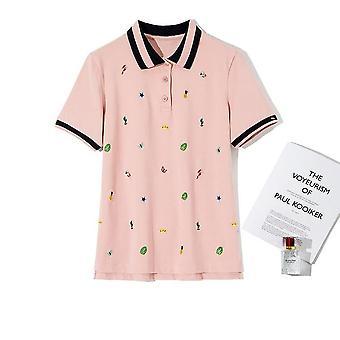 Cartoon Cotton Embroidered Polo Shirt Women Fashion Casual Plus Size Polo Shirt