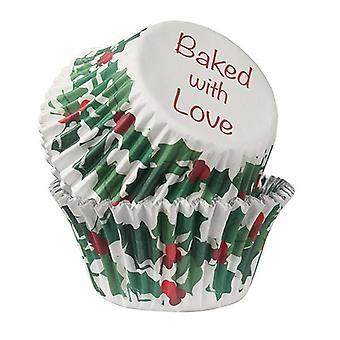 Pieczone z miłością - Holly & Berry Foil Lined Opakowanie do pieczenia - 25 opakowań - pojedyncze