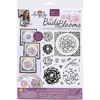 Angela Poole A4 Clear Stamp Set Perfect Peonies