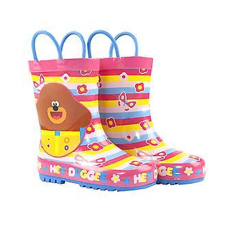Hey Duggee Girls Wellies | Children's Wellington Carry Handle Snow Boots | Kids Pink Blue Rain Shoes Merchandise Gifts