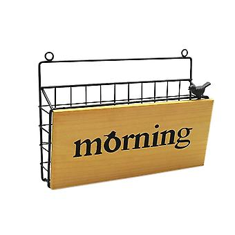 Wrought iron wall storage basket Wood and iron combination high quality solid