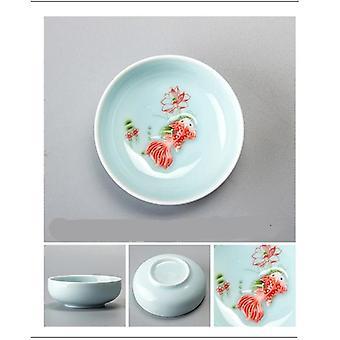 Porcelain Celadon Fish Tea Cup Set