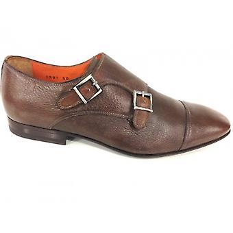 Мужская обувь Santoni Двойная пряжка Deer Кожа Коричневый Темно-коричневый Ручной работы Tg 6 51