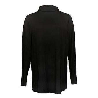 Belle Por Kim Gravel Mujer Modal Spandex Ruched Cuello De Tortuga Negro A388525