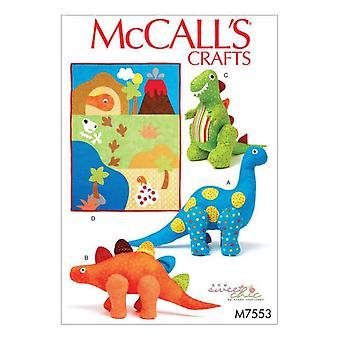 McCalls Padrões de Costura 7553 Dinossauros Artesanato Quilt One Size