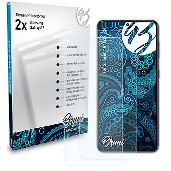 Bruni 2x Screen Protector compatible with Samsung Galaxy S21 Protective Film