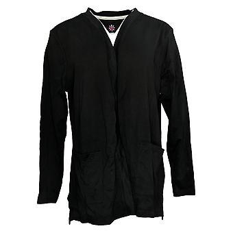 Isaac Mizrahi En direct! Women's Sweater Pima Cotton Knit Cardigan Noir A390690