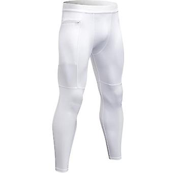 Winter Men Zipper Pocket Compression Running Pants