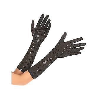Middelgrote zwarte handschoenen met volwassen pailletten