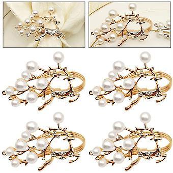 HanFei Serviettenringe Hirsch Rosegold 4Stk Metall Serviettenringe mit Perle Tischdekoration