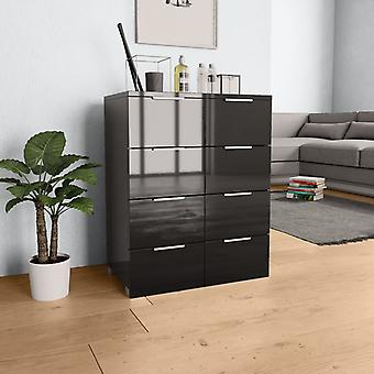 vidaXL Sideboard brillant noir 60×35×76 cm panneau de particules