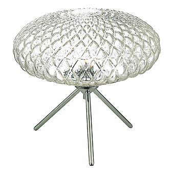 Tafellamp gepolijst chroom met helder glas groot