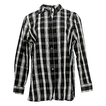 Isaac Mizrahi Live! Frauen's Top immer Button Front Shirt schwarz A389680