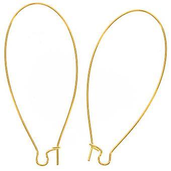 Slutrea - 22K guldpläterade örhängkrokar Njurtrådar Extra Lång 47,5mm (1 par)