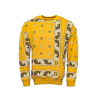 Yellow patterned crew neck sweater