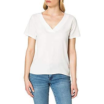 Kun ONLAVA S/S V-Neck Mix Woven Top Jrs T-shirt, Cloud Dancer, S Woman