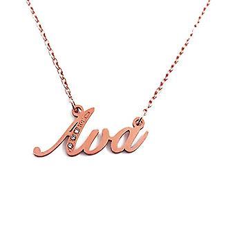 Kigu AVA - Anpassningsbart namn halsband med kubiska zirkoner, rosenguld pläterad, anpassningsbar